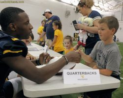 WVU Players Interact Well On Football Fan Day