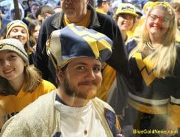 West Virginia students line up for entry to the WVU - Kansas Basketball game
