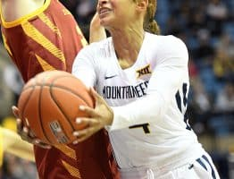 West Virginia guard Lucky Rudd (4) flips an underhand shot at the rim against Iowa State's Ashley Joens