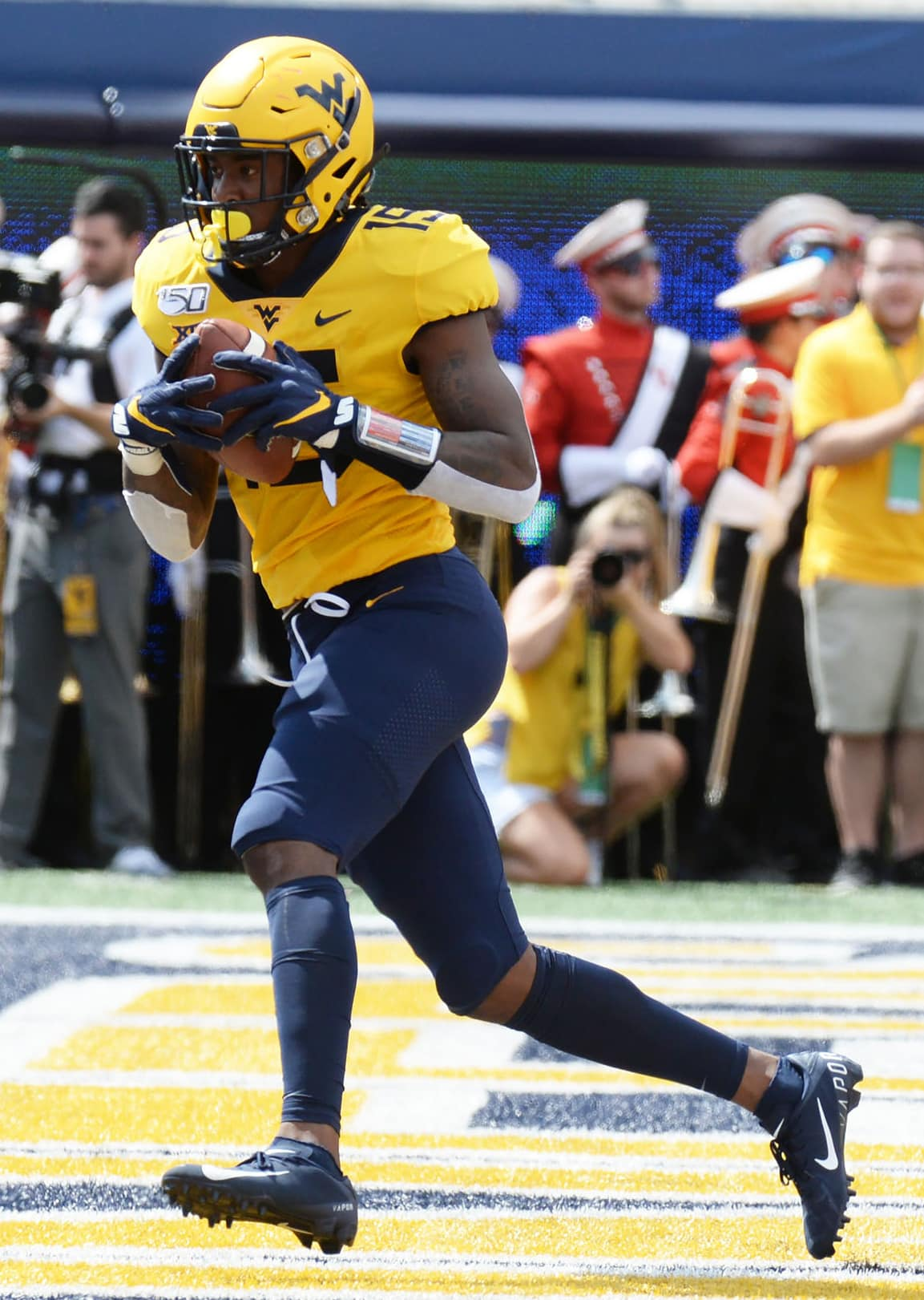 West Virginia receiver George Campbell scores on a touchdown reception