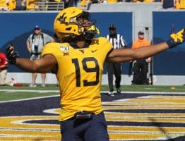 West Virginia receiver Ali Jennings celebrates his first Mountaineer touchdown