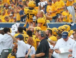 The West Virginia juice squad gets fired up as the Mountaineers kick off following a touchdown