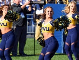 The West Virginia dance team performs during a timeout