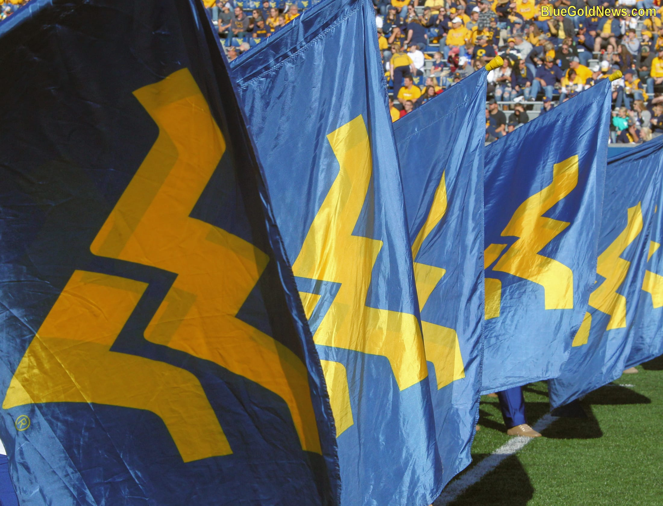 WVU flags decorate the band's pregame performance