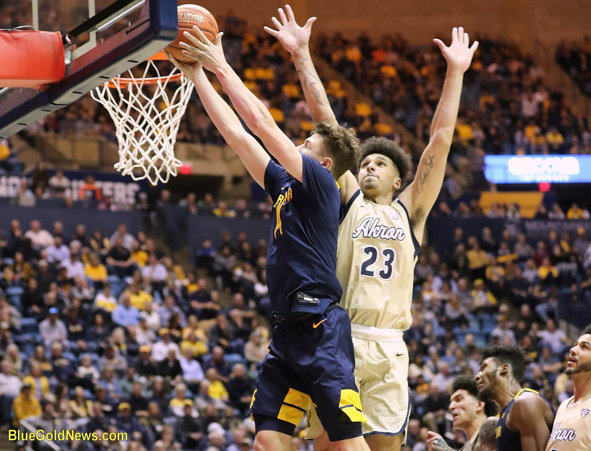 West Virginia guard Chase Harler attacks the rim for a bucket