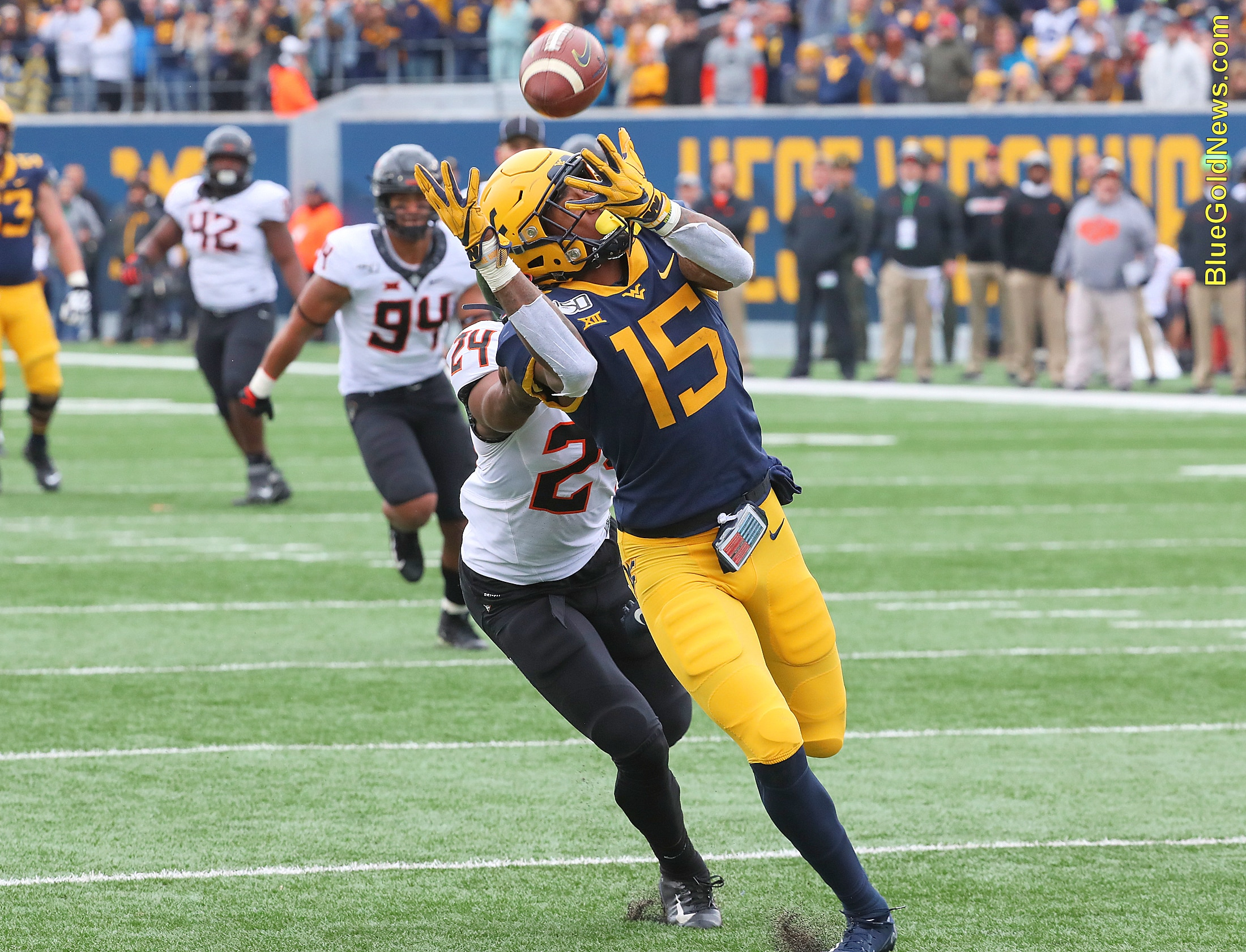West Virginia receiver George Campbell hauls in a 34-yard touchdown reception