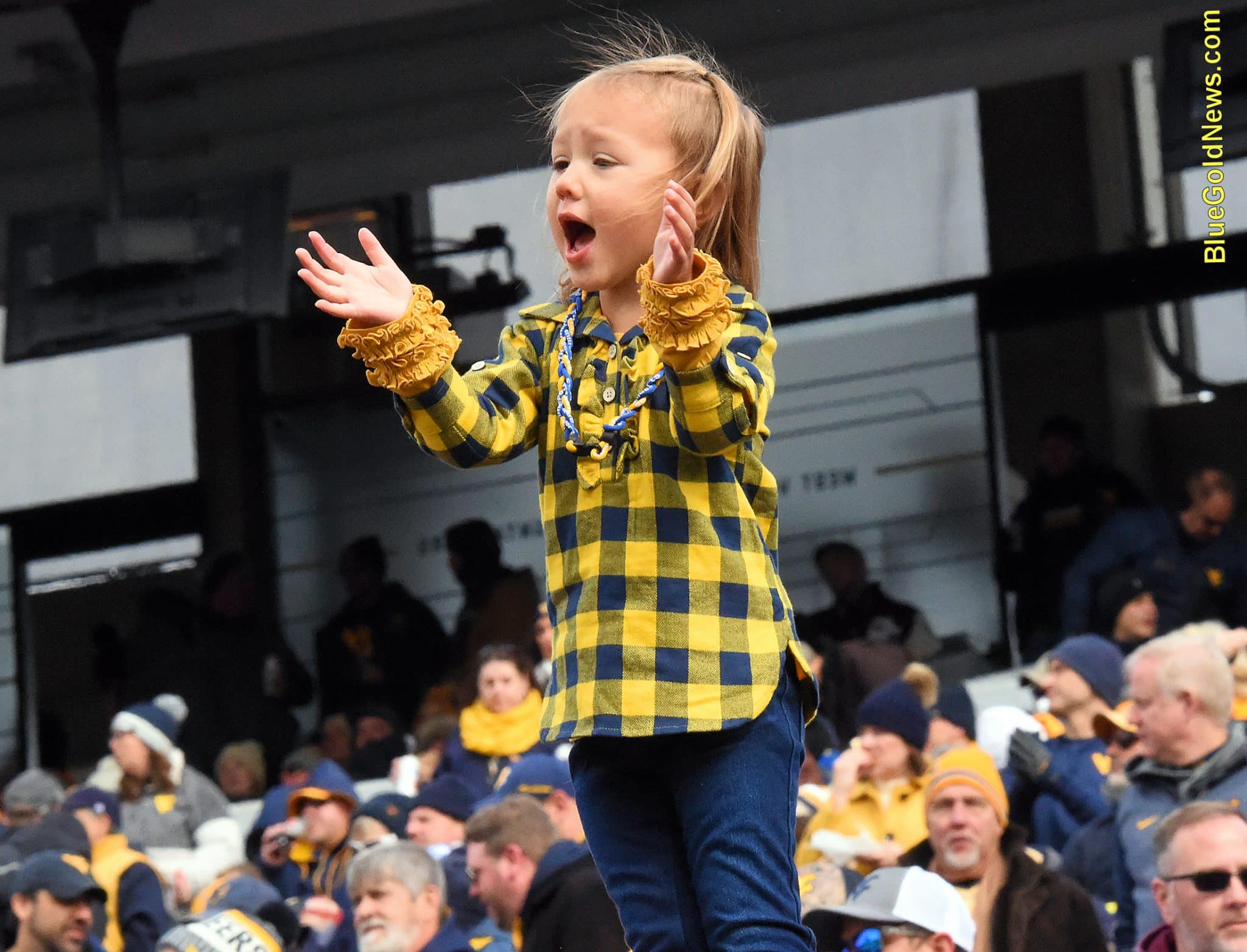A young West Virginia fan encourages the Mountaineers