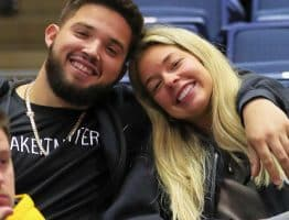 West Virginia alumnus Alek Manoah and girlfriend Marielena Somoza of the WVU volleyball team took in the Mountaineer win over Rhode Island