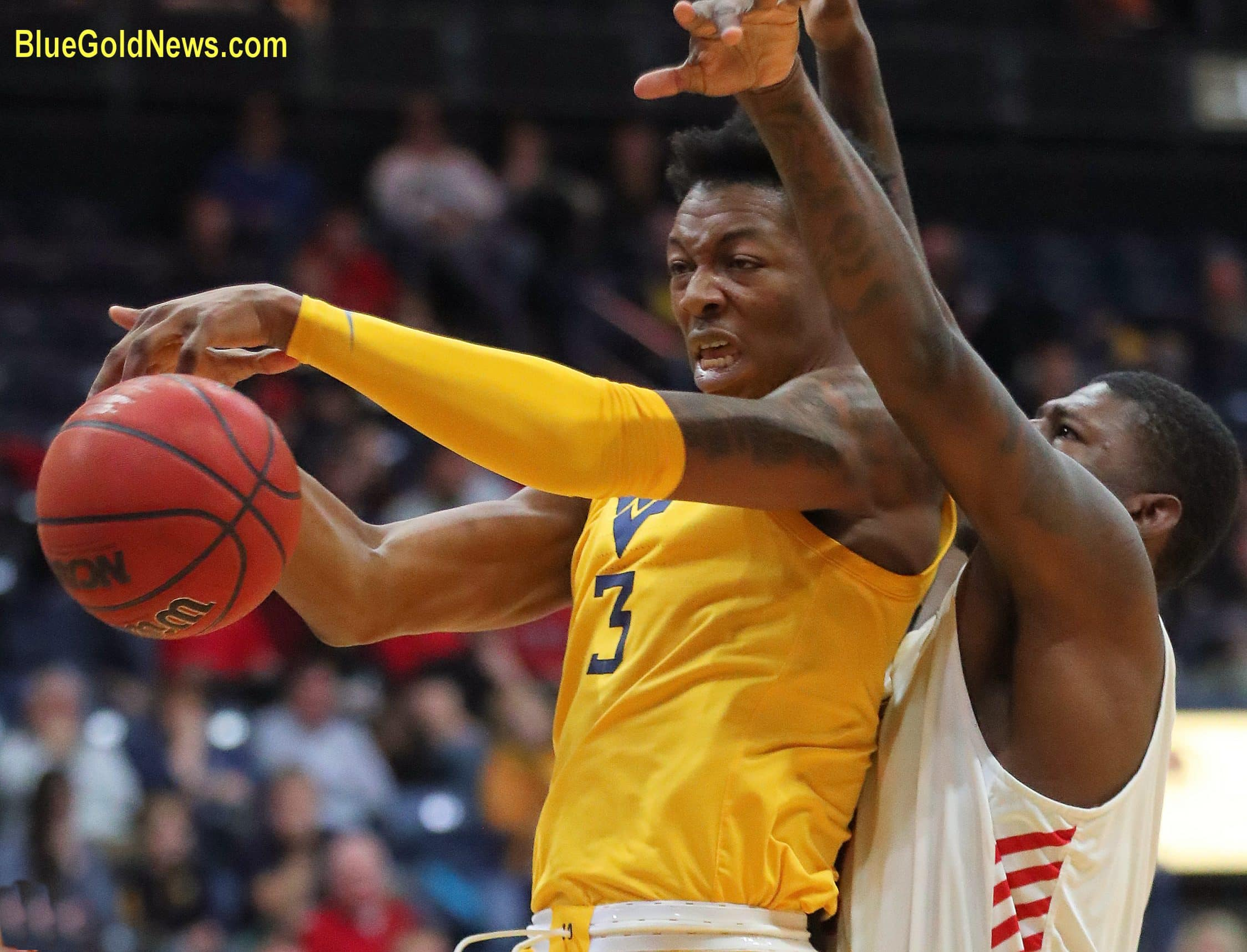 West Virginia forward Gabe Osabuohien ries to contol a loose ball