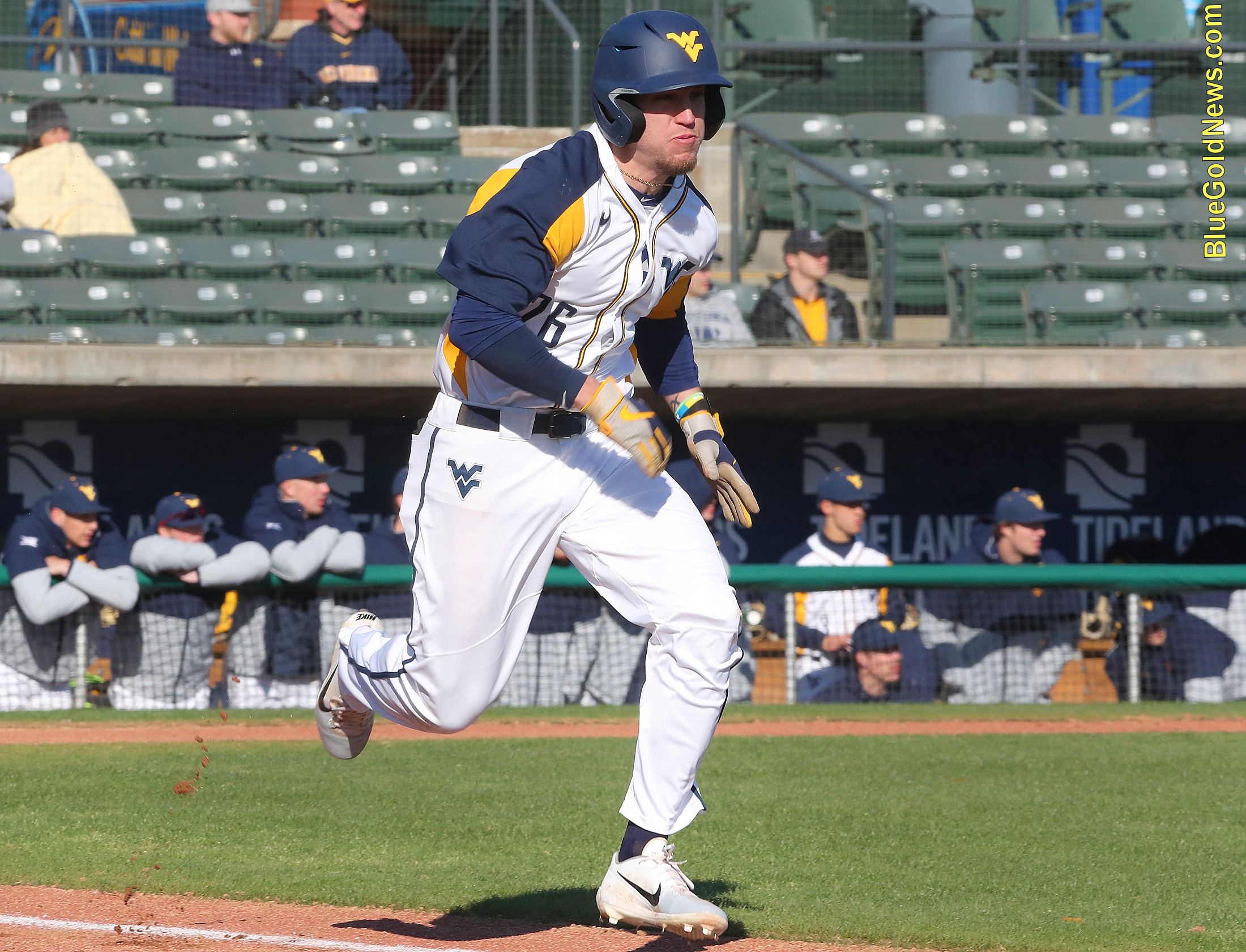 West Virginia outfielder Braden Zarbnisky hustles down the line