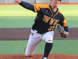 West Virginia pitcher Tyler Strechay delivers to the plate
